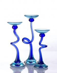 Blue Twisted Candlesticks - Hudson Glass