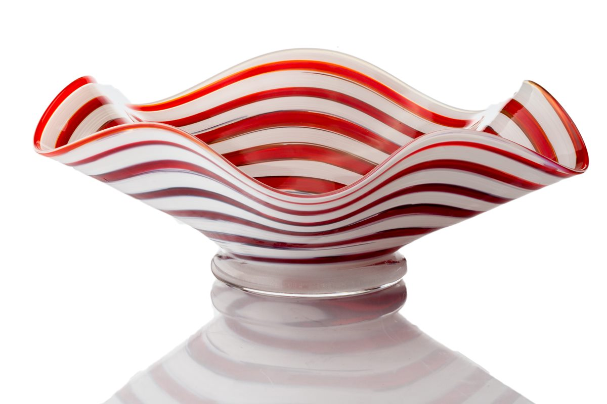 Candy Cane Flutter Bowl - Hudson Glass